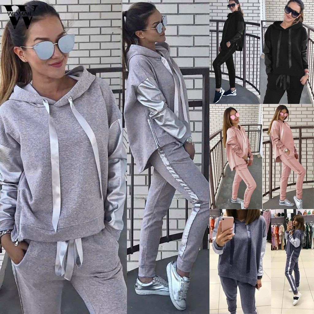 Womail Women tracksuit Autumn Hooded Sets Long Sleeve Hoodies Coats long Pants Two Piece Matching Sets Autumn Sport Fitness Suit