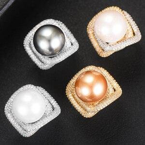 Image 3 - Godki 2020 トレンディなツイストパール声明リング女性立方ジルコン指輪ビーズチャームリングボヘミアンビーチジュエリー 2019