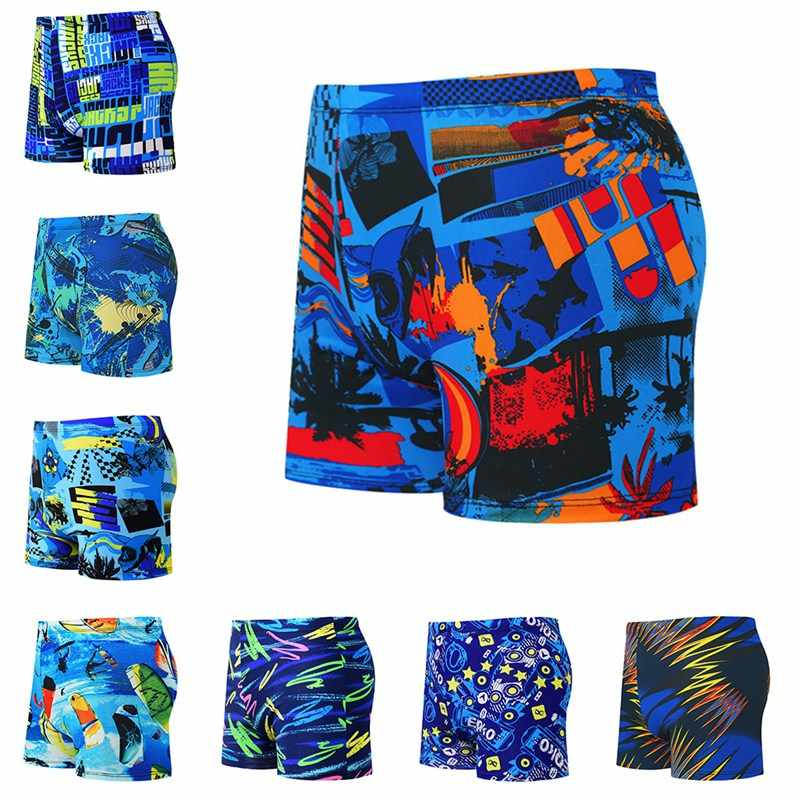 new Swimming Trunks Men Casual Style Printed Drawstring Loose Short Pants Beach Hot Spring Swimwear Swim Shorts Swimsuit