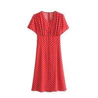 Foreign Trade Original Garment Summer New Products French Vintage Red Color Polka Dot Short Sleeve V neck Waist Hugging Slimming