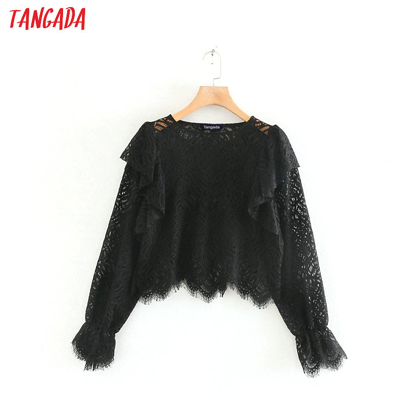 Women Elegant Ruffles Black Lace Blouse Long Sleeve Solid Pleated Shirts Female Casual Crop Chic Tops Blusas XN208