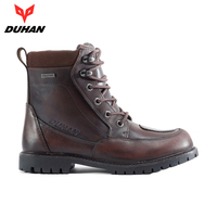 DUHAN Motorcycle Boots Men Full Waterproof Moto Boots Outdoor Motocross Leather Motorcycle Shoes Vintage Ankle Boots Botas