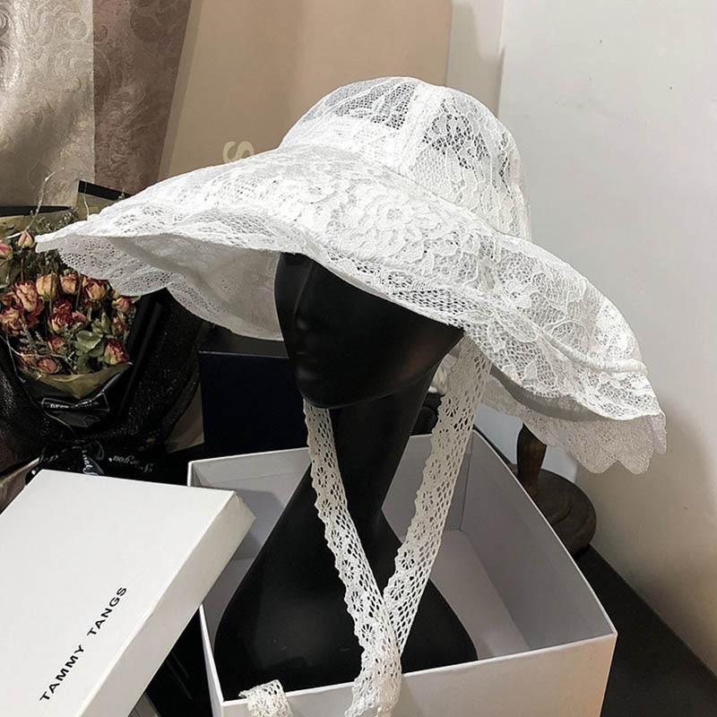 Black lace hat.