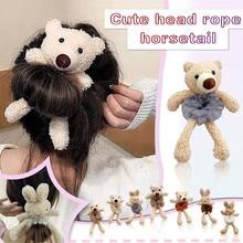 Cute Plush Scrunchie Cartoon Bear Rabbit Elastic Hair Bands Girls Women Ponytail Holder Hair Rope Tie Winter Hair Accessories