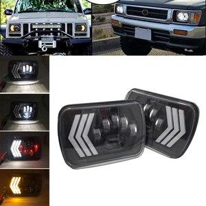 """Image 1 - 2 stücke 55W Led 5x7 """"7X6"""" Zoll Retangular Feixe Farol Com High/Low DRL platz Scheinwerfer für Jeep Cherokee XJ Wrangler lkw 4X4"""