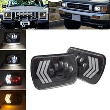 "2pcs 55W Led 5x7"" 7X6"" Inch Retangular Feixe Farol Com High/Low DRL Square Headlight for Jeep Cherokee XJ Wrangler truck 4X4"