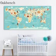 Pôster do mundo dos animais nórdicos, mapa para parede, pintura, arte para bebês, pôster de berçário, imagens de parede para crianças, decoração