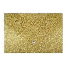 25Pcs Gold Flash Wedding Invitations Laser Cut Blank Print Birthday CUSTOM Cards Fold Merry Greeting Paper Invites Invitaciones