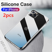 2pcs Ultra Thin Clear Phone Case For iPhone 7 Case Silicone Soft Back Cover For iPhone 11 12 Pro XS Max X 8 6s Plus XR 5 SE 2020