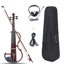 New Arrival 4/4 Electric Violin Basswood Panel Aluminum Alloy String With Headphone Case Rosin Connecting Line 4 Colors Hot Sale