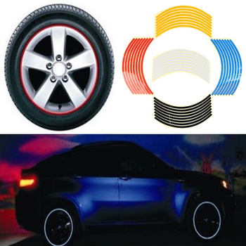 Bicycle Reflect Stickers 8 Strips Car Tyre Rim Sticker Tire Protection Decor Automobile Rim Wheel Stickers Protector Car-styling image