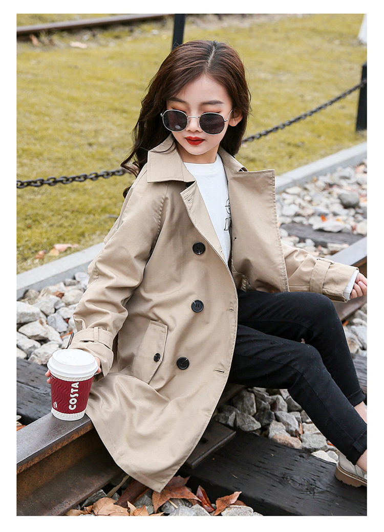 2020 Big Kid`s Outerwear Cotton British Style Trench Coat for Girls Fashion Long Windbreaker Jackets, (2)