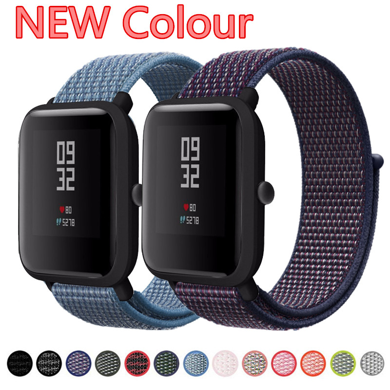 20mm Nylon Loop Woven Strap For Xiaomi Huami Amazfit Bip BIT Lite Youth Smart Watch Accessories Wrist Bracelet Amazfit Watchband