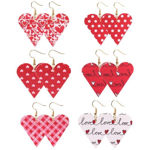 Love Heart Pendant Hollow Pu Leather Earrings New Dangle Earrings for women Valentines Day Gift Wholesale valentine earrings