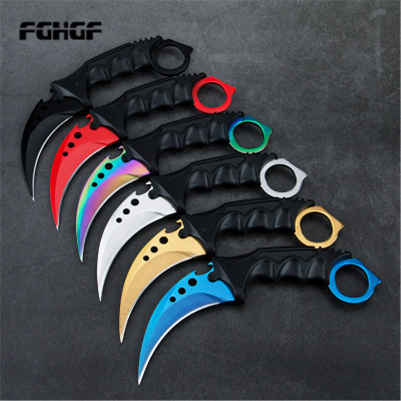 Karambit CSGO Game Claw Knife Outdoor Claw High Hardness Wilderness Survival Knife Multi-function Straight Knife