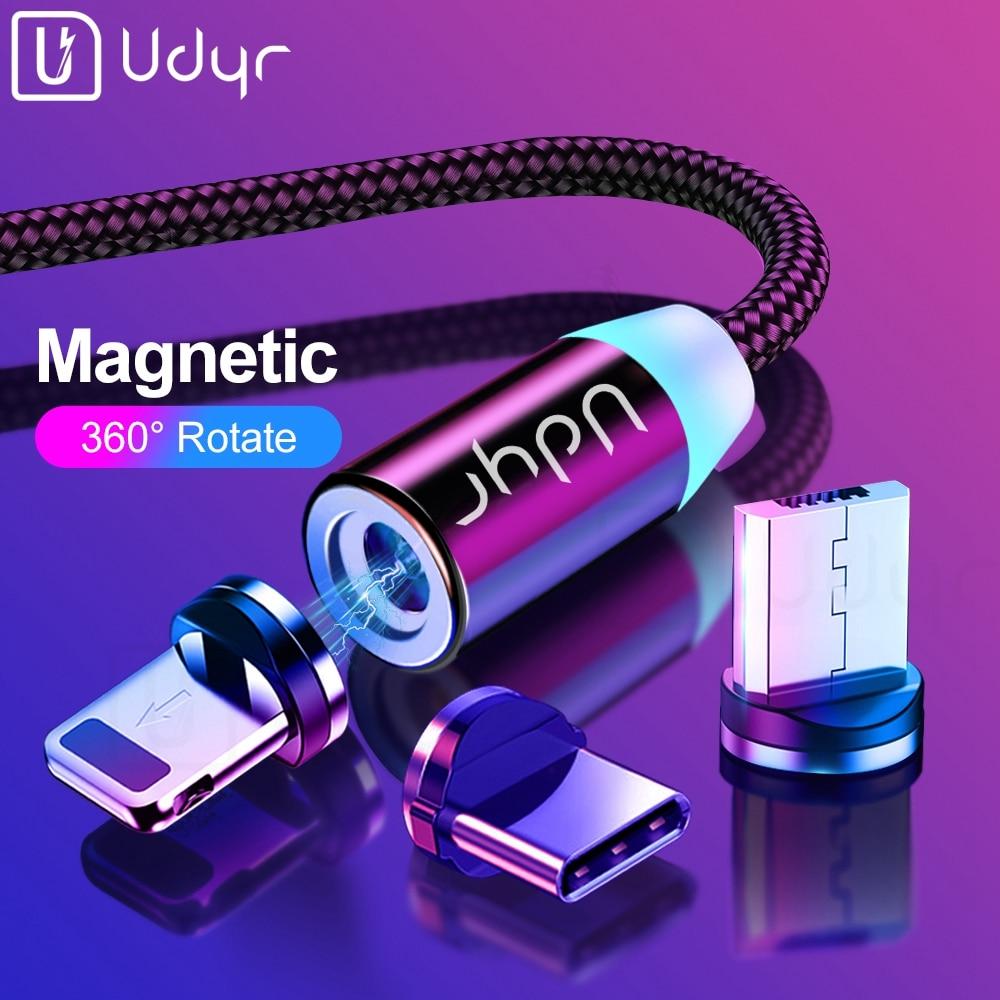 Udyr 2m מגנטי מיקרו USB כבל עבור iPhone סמסונג אנדרואיד נייד טלפון מהיר טעינת USB סוג C כבל מגנט מטען חוט
