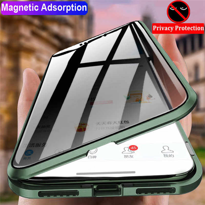 Magnetic 360 Glass Case untuk iPhone 11 Case 360 Magnetic Anti Spy Iphone 6 7 8 7 Plus 8 P 10 X xr XSx 11 Promax Tutup Pelindung