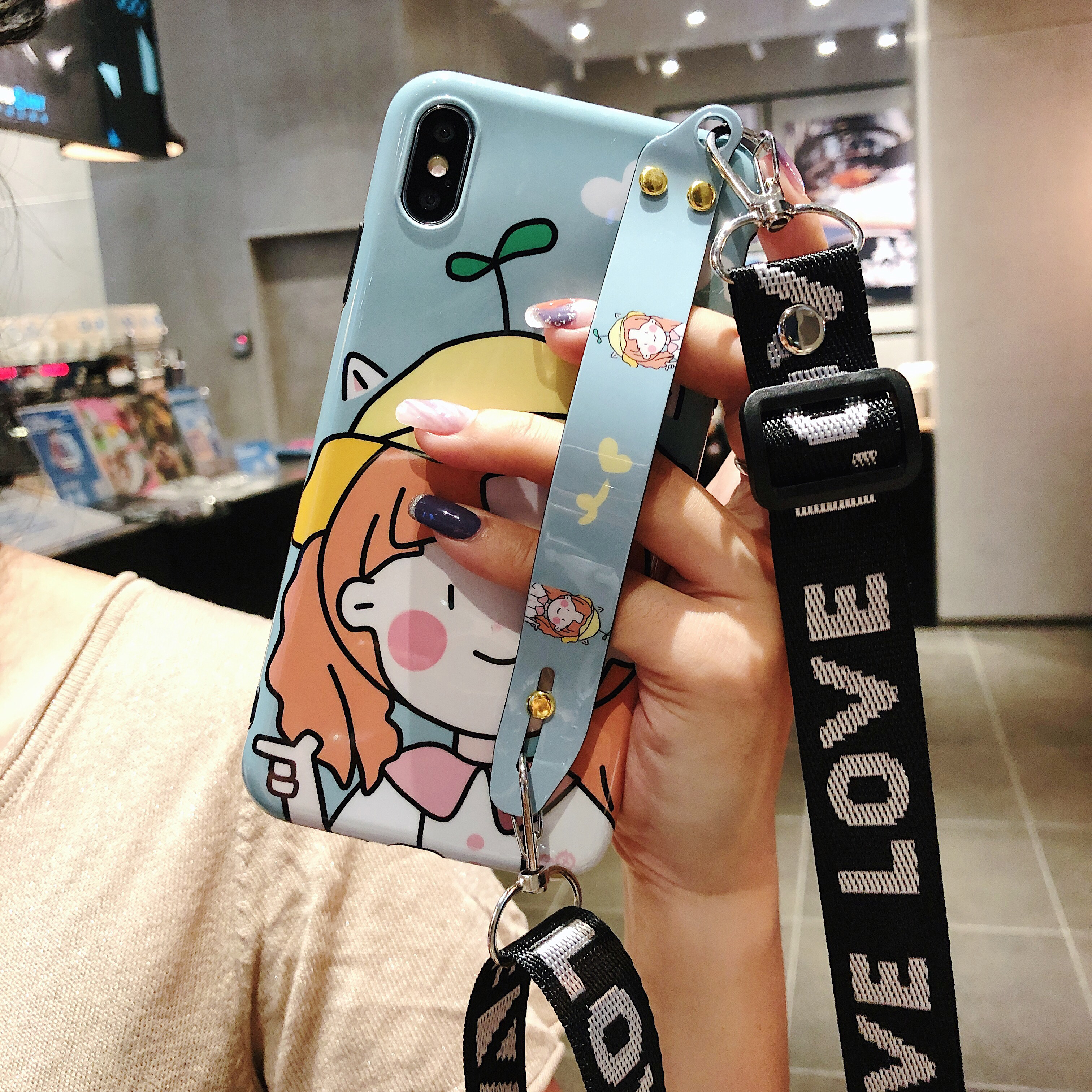 cartoon strap tpu case for huawei P30 P20 pro nova 5 pro 4 3 honor 20 case cover wristband holder shoulder lanyard soft silicon in Fitted Cases from Cellphones Telecommunications