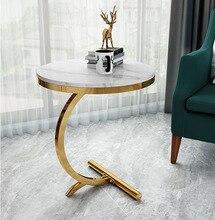 Роскошь мрамор диван сторона стол угол стол гостиная комната диван конец прикроватная тумбочка стол маленький круглый журнальный столик