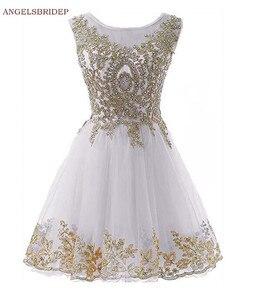 ANGELSBRIDEP Short Homecoming Dresses Vestidos de festa Vintage Gold Applique Crystal Junior Graduation Formal Party Gowns