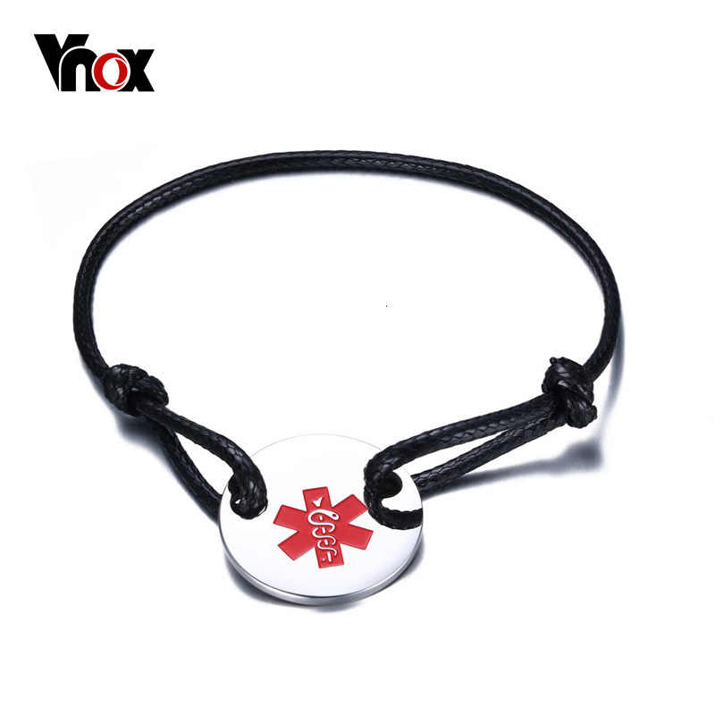 "VNOX Medical Alert ID Star of Life Bracelet Stainless Steel Coin Black & Red Rope Bangle Adjustable Size 5.5""-10"" Free Engraving"