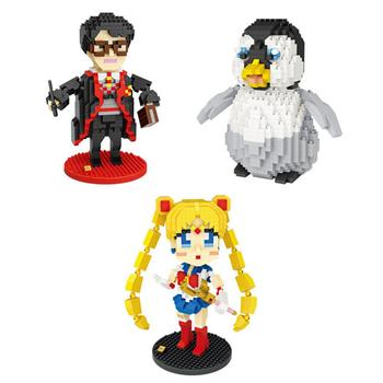 hot lepining creators classic cartoon sailor moon harrys potters penguin mini micro diamond building blocks bricks toys for gift image
