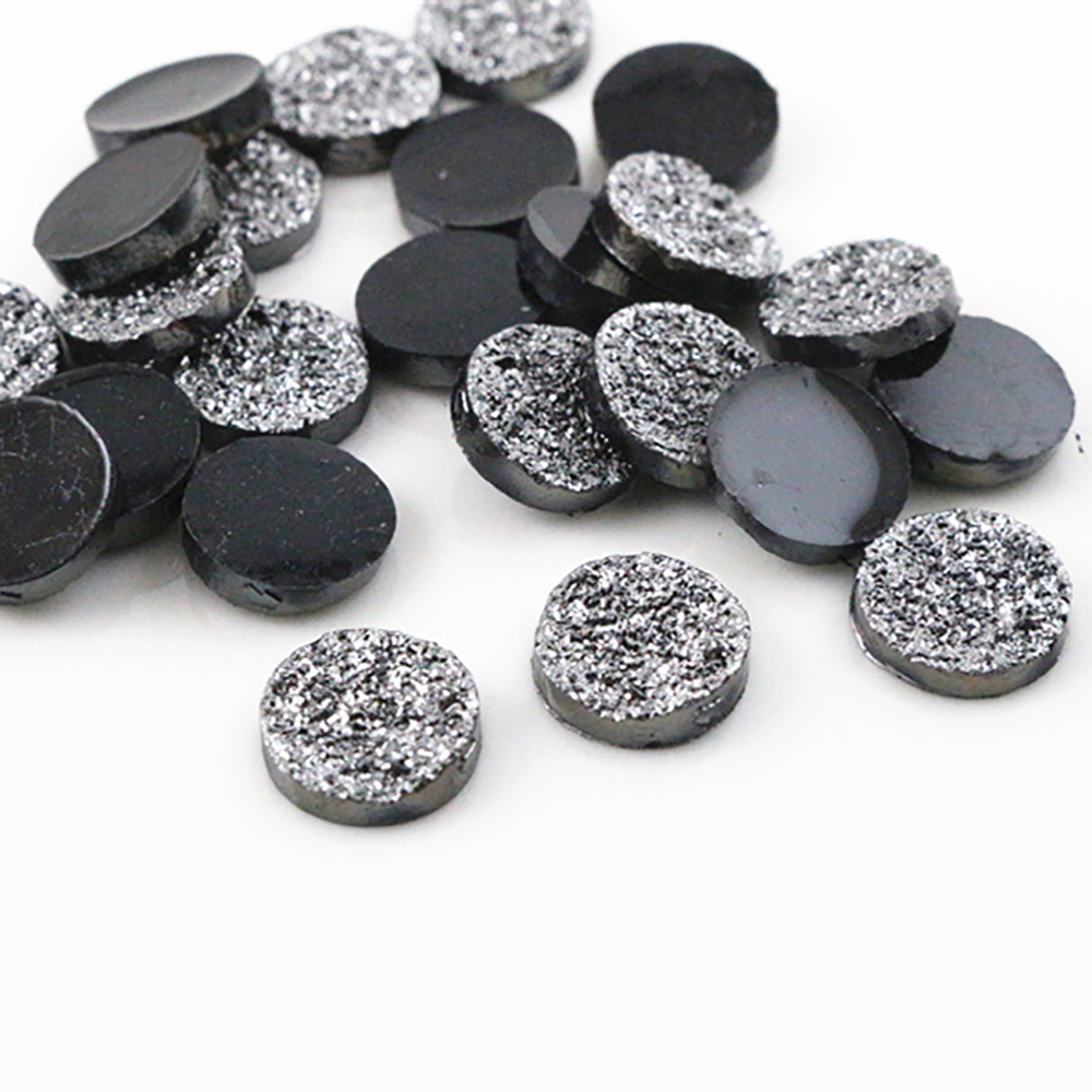 New Fashion 50pcs 12mm Gray Color Ore Style Flat Back Resin Cabochons Cameo  H1-19
