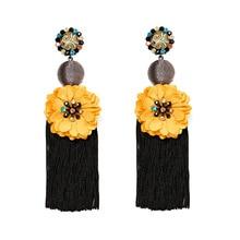 Tassel Earrings For Women Bohemian Earrings Colorful Statement Drop Earring 2019 long style Female Flower Fashion Jewelry