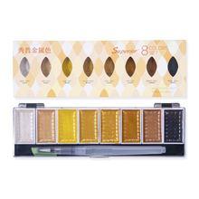 Pigmento de oro metálico con pincel de agua para artista, juego de acuarela de Color sólido Superior, suministros de arte, 5/8 colores