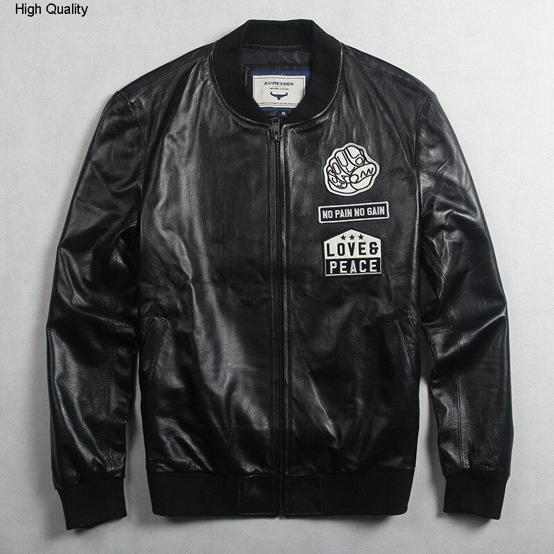 Avirexmen Men's Fashion Genuine Leather Jacket With Pattern Black Leather Bomber Jacket Men Casual Baseball Jacket Youth