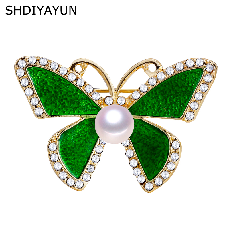 SHDIYAYUN New Pearl Brooch Simple Butterfly Brooch For Women Lovely Brooch Pins Natural Freshwater Pearl Jewelry Accessories