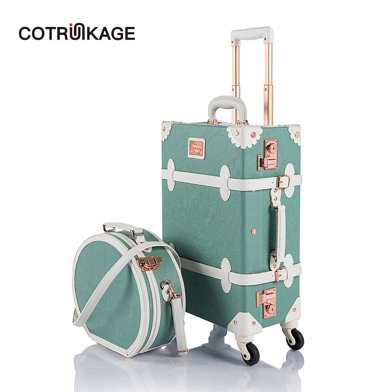 COTRUNKAGE Pu Spinner Suitcase Grey 2 Piece Vintage Trunk Luggage Set 12 /& 24, Light grey