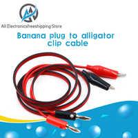 Pinza de cocodrilo Dual a conector Banana, Cable de sonda de prueba de osciloscopio de 1M, 3 pies, rojo y negro, 4MM