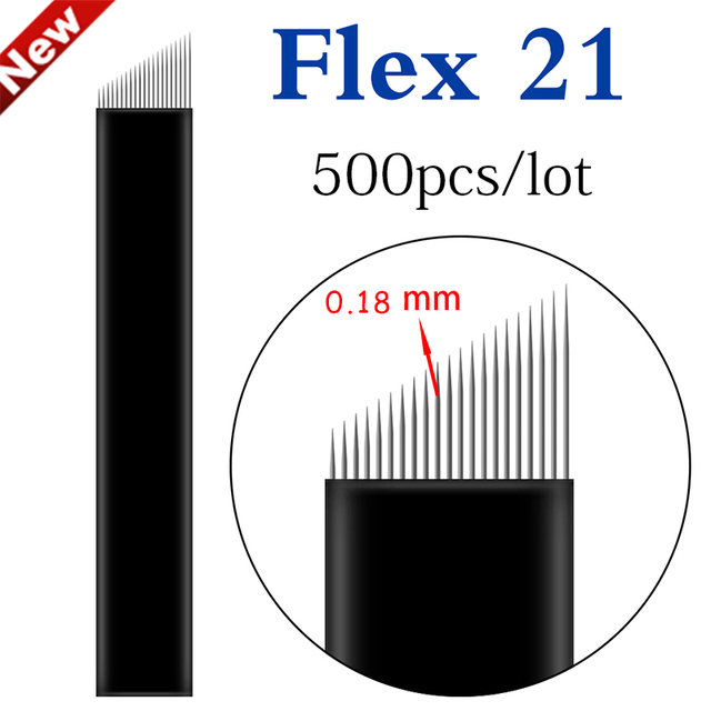 Microblading Needles 500pcs 0.18mm 12/14 flex Permanent Makeup Nano Blade For Eyeliner Eyebrow 3D Embroidery Manual Tattoo Pen