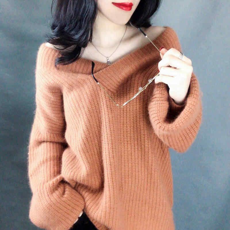 2019 Primavera Inverno Nuove Donne Con Scollo A V Solid Maglie e Maglioni Coreano Allentato Lavorato A Maglia Pullover Abbigliamento casual Manica Lunga Più Il Formato Magliette e camicette