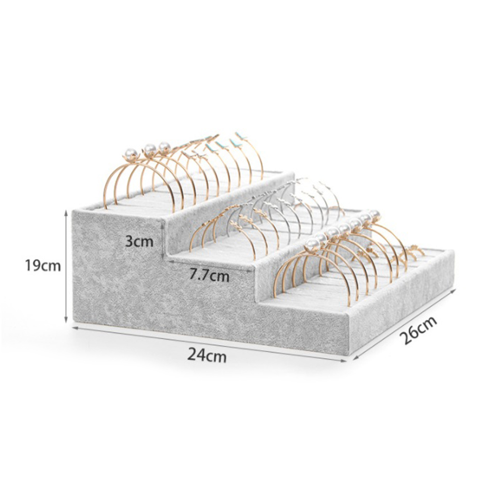Flannel 3-layer Bracelet Display Stand Ring Bracelet Display Tray Counter Jewelry Organizer Display Props Counter Decoration