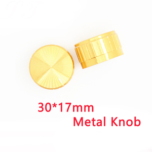 2pcs/lot gold volume control Metal Alloy Knob 30mmx17mm Knurled Shaft 6mm rotary Potentiometer encoder switch knobs cap