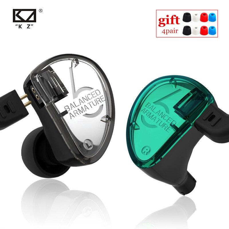 KZ AS06 3BA Ausgewogene Anker In Ohr Kopfhörer HIFI Laufende Sport Kopfhörer Ohrstöpsel Headset KZ ZS10 BA10 ZS6 ZST ES4 ZS5 V80 K6