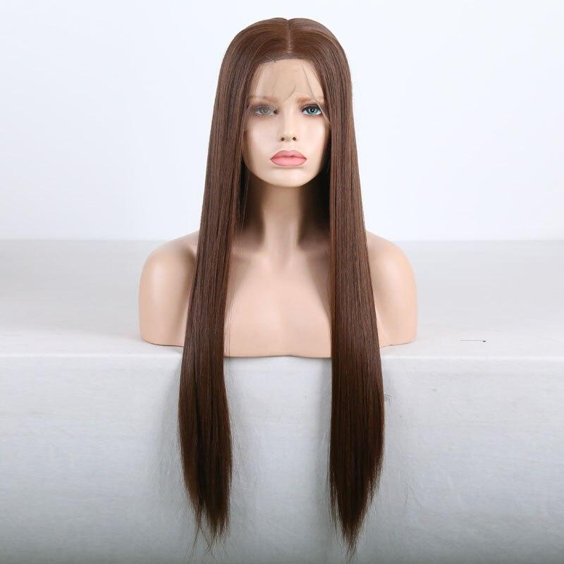do laço longo perucas retas de seda para mulher