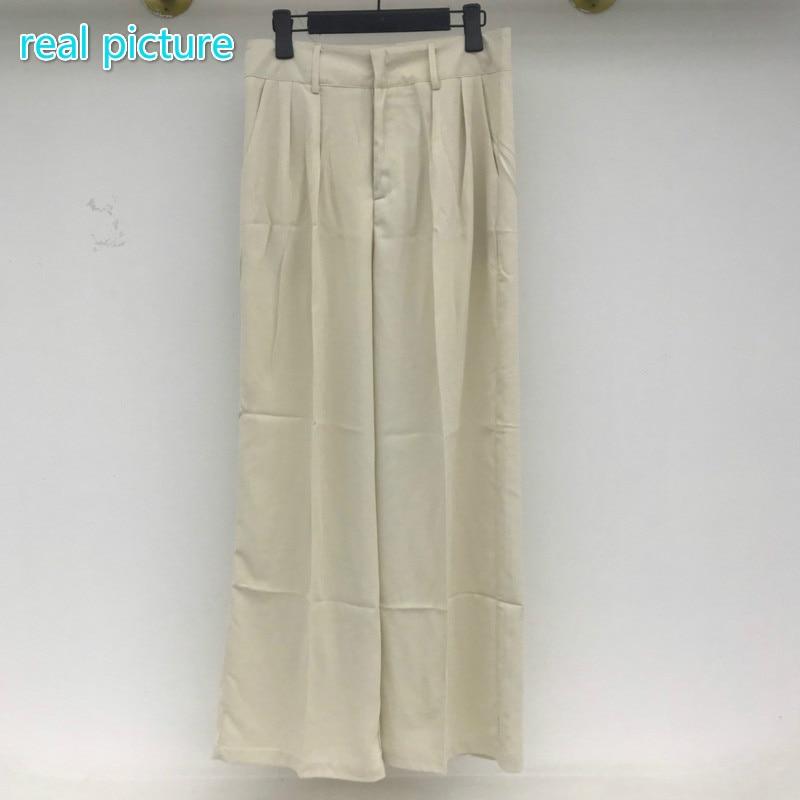 Ha7d12334786b476b88f77aa44c5ccdbc5 - Summer Korean High Waist Loose Folds Wide Leg Solid Suit Pants