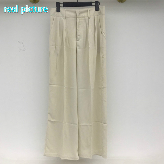 [EWQ] Korea Chic Casual Fashion Temperament Solid High Waist Folds Loose Wide-leg All-match Suit Pants Women Summer 2021 16E82 5