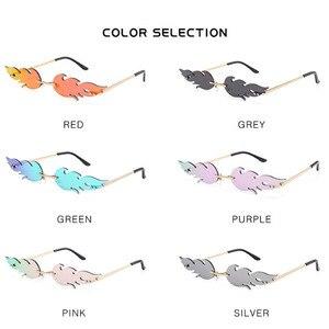 2020Men солнцезащитные очки без оправы с волной Роскошные трендовые узкие винтажные очки крутые уличные очки с огненным пламенем женские солнцезащитные очки