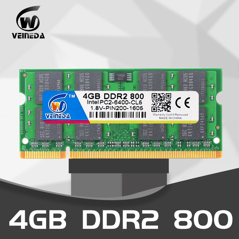 VEINEDA laptop <font><b>ddr2</b></font> ram <font><b>4</b></font> <font><b>gb</b></font> 2gb Sodimm memory ram 4<font><b>gb</b></font> 800Mhz 667mhz notebook for Intel <font><b>amd</b></font> mobo Support ddr2 image