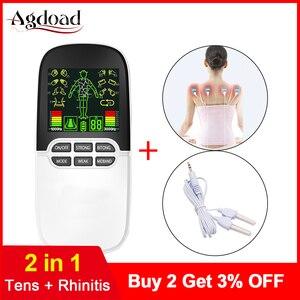 Image 1 - 2 в 1 электрический стимулятор нерва, массажер для носа, для лечения ринитов, синусита, аллергии, лазерная терапия, лечение с электродными прокладками