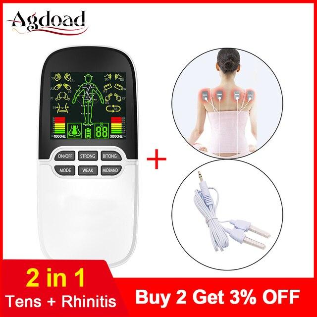 2 в 1 электрический стимулятор нерва, массажер для носа, для лечения ринитов, синусита, аллергии, лазерная терапия, лечение с электродными прокладками