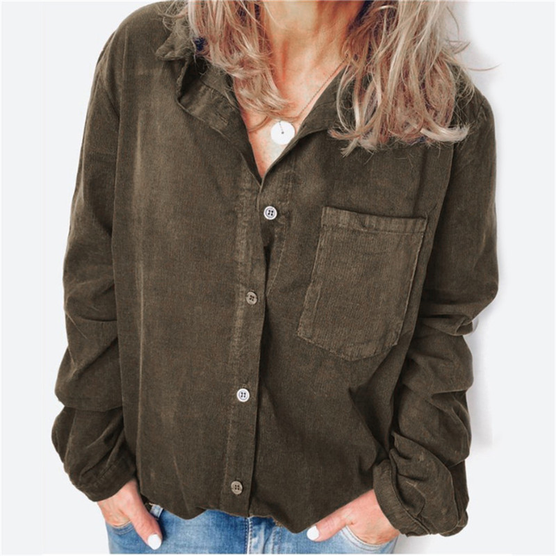 Women's Autumn Winter Corduroy Blouse Casual Long Sleeve Shirt Solid V-neck Blouse Female Big Size Loose Top Women Clothing