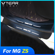 Vtear For MG ZS car door sill sticker cover anti-scuff trim rear guard strip bumper protector covers exterior accessories 2020