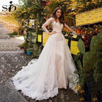 Sexy Mermaid Wedding Dresses With Detachable Train Long Sleeve Beaded Appliqued Lace Princess Wedding Dress boho Bridal Gowns sweetheart girl camo wedding dresses with detachable train long bridal gowns camouflage formal real tree custom