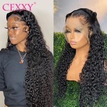 Cexxy encaracolado peruca do cabelo humano brasileiro onda profunda do laço frente perucas de cabelo humano para as mulheres 180 densidade glueless longo 30 polegada peruca do laço