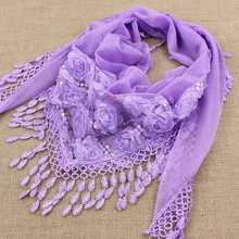 Women Scarf Shawls Pendant Tassel Lace Flower Female New And Autumn 1PC Triangle